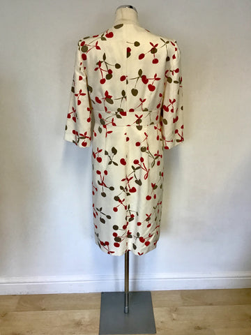 FENN WRIGHT MANSON IVORY WITH RED & GREY CHERRY PRINT DRESS & COAT SUIT SIZE 12