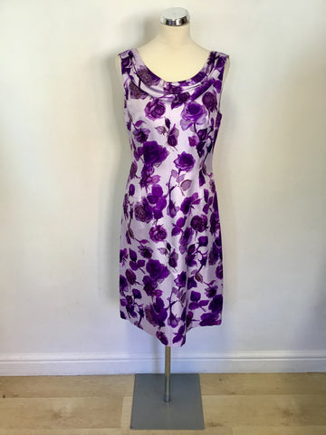 BRAND NEW PHASE EIGHT LILAC & PURPLE FLORAL PRINT OCCASION DRESS SIZE 12