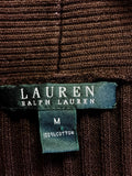 RALPH LAUREN BROWN RIBBED V NECK JUMPER SIZE M