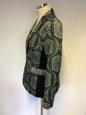 BRAND NEW MARKS & SPENCER TWIGGY GREEN,BLACK & GOLD PRINT JACKET SIZE 12