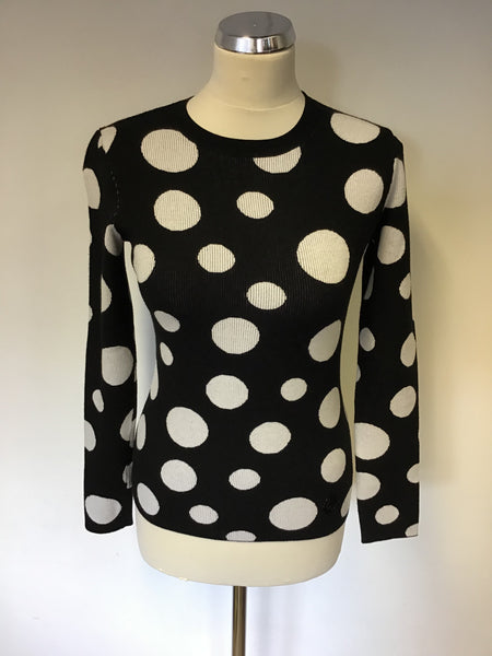 ARMANI JEANS BLACK & WHITE SPOT CREW NECK LONG SLEEVE JUMPER SIZE 10