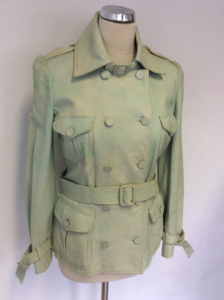 MULBERRY LIGHT GREEN COLOUR WASH LEATHER JACKET SIZE 10