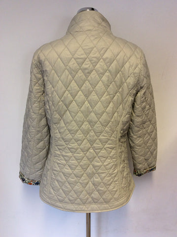 BARBOUR RACHEL QUILT JACKET IN MIST WITH LIBERTY FABRIC TRIM SIZE 16