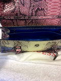 BRAND NEW GUESS LEMON,PINK & BLUE SNAKESKIN PRINT SHOULDER/HANDBAG