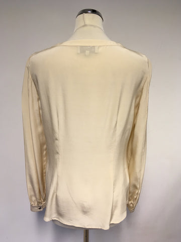 AUSTIN REED NUDE SILK FRILL FRONT BLOUSE SIZE 12