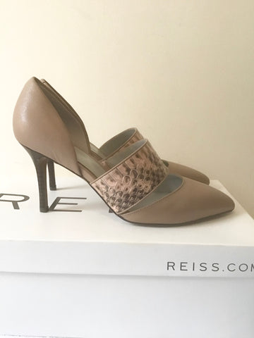 BRAND NEW IN BOX REISS CINZIA NUDE & SNAKESKIN STRAP LEATHER HEELS SIZE 3/36