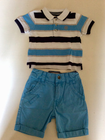 TIMBERLAND BLUE & WHITE OUTFITS WITH SUNHAT AGE 9 MONTHS
