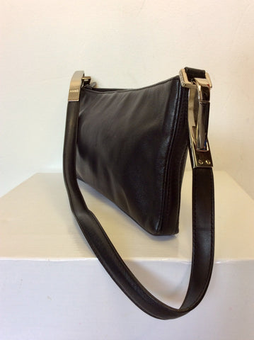 DKNY BLACK LEATHER & SILVER TRIM SHOULDER BAG