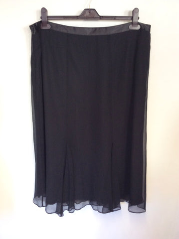 COUNTRY CASUALS BLACK SILK WITH SILVER EMBROIDERY & BEADING TOP & SKIRT SIZE 18