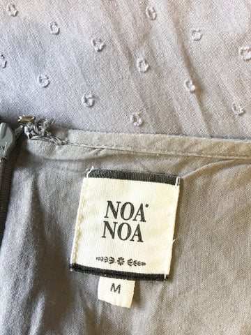 NOA NOA DOVE GREY COTTON SUMMER DRESS WITH BROIDERY ANGLAISE TRIM SIZE M
