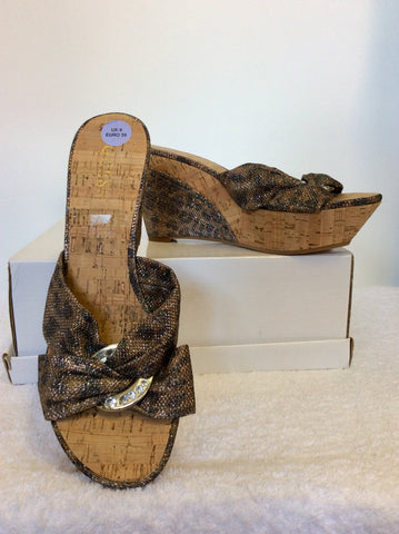 BRAND NEW GUESS BRONZE LEOPARD PRINT SPARKLE WEDGE HEEL MULES SIZE 6/39