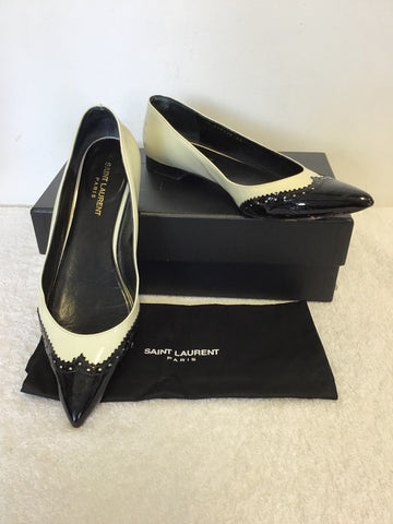 YVES SAINT LAUREN BLACK & WHITE PATENT LEATHER BROGUE FLATS SIZE 6/39