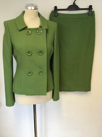 LK BENNETT GREEN WOOL DOUBLE BREASTED JACKET & PENCIL SKIRT SIZE 10