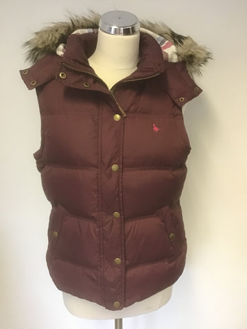 JACK WILLS BURGUNDY DUCK DOWN & FEATHER FILLED HOODED GILET/ BODY WARMER SIZE 14
