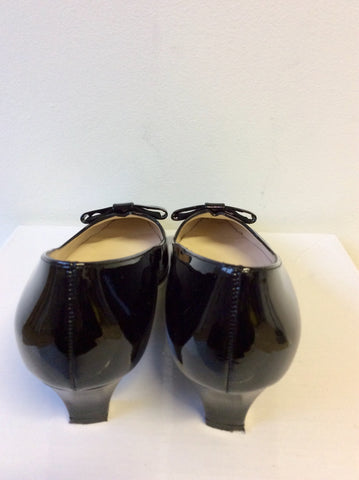 BRAND NEW PETER KAISER BLACK PATENT LEATHER BOW TRIM HEELS SIZE 3.5/36 PLUS SIZE