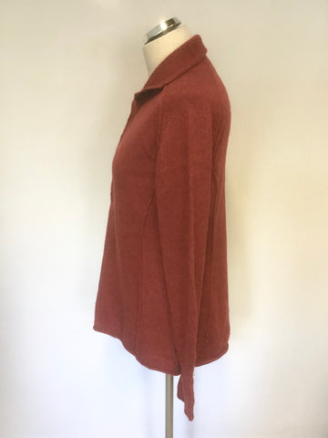 PERUVIAN CONNECTION RED 100% ROYAL ALPACA RED BUTTON NECK LONG SLEEVE JUMPER SIZE L