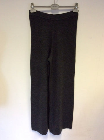 NITYA DARK GREY WOOL KNIT TROUSERS SIZE 12