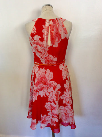 COAST RED FLORAL PRINT SPECIAL OCCASION DRESS SIZE 10