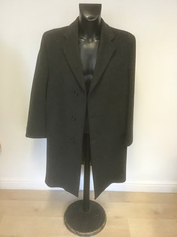 CROMBIE CHARCOAL GREY PURE NEW WOOL COAT SIZE 44 REG