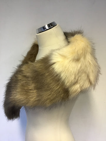BRAND NEW FRANK USHER BROWN & CREAM FAUX FUR STOLE/ SCARF