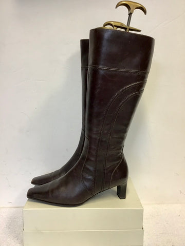MARCO TOZZI  DARK BROWN LEATHER KNEE LENGTH BOOTS SIZE 4/37