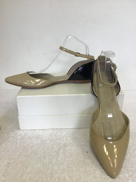 BODEN BEIGE & BLACK PATENT LEATHER ANKLE STRAP FLATS SIZE 7/40