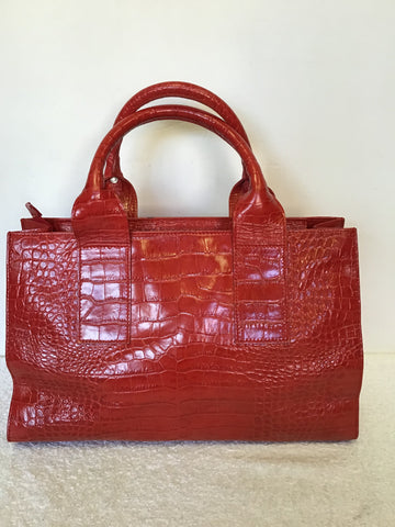 HOBBS RED LEATHER CROC DESIGN TOTE BAG