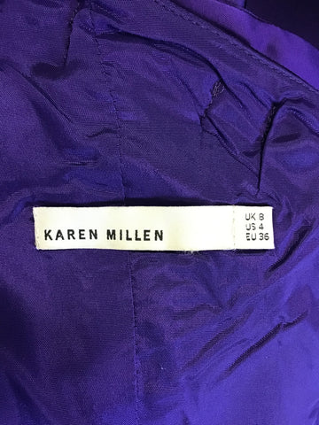 KAREN MILLEN PURPLE ONE SHOULDER PLEATED SPECIAL OCCASION DRESS SIZE 8