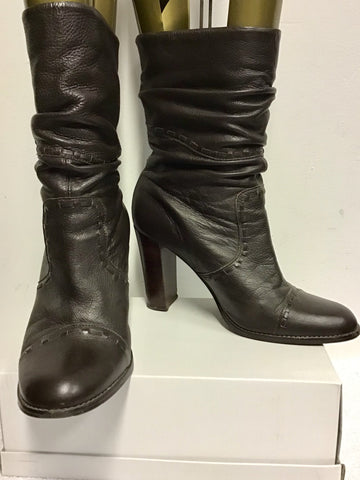 FAITH DARK BROWN SLOUCH LEATHER HEELED BOOTS SIZE 7/40