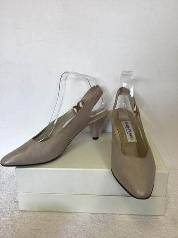 EVAN PICONE BEIGE LEATHER SLINGBACK HEELS SIZE 6.5/ 39.5