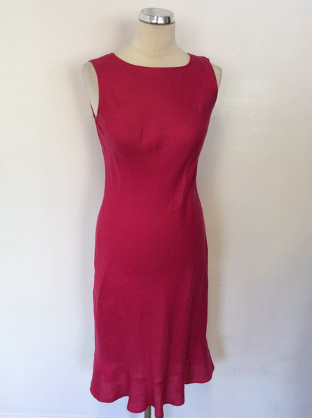 HOBBS RASPBERRY PINK SLEEVELESS LINEN DRESS SIZE 8