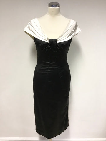 KAREN MILLEN BLACK & WHITE OFF SHOULDER SPECIAL OCCASION DRESS SIZE 10