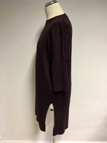 WHISTLES MAROON WOOL BLEND LONG JUMPER SIZE M