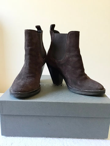 ALL SAINTS EVERING DARK CHOCOLATE BROWN SUEDE CHELSEA BOOTS SIZE 3/36