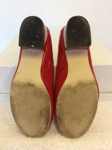 MODA IN PELLE RED PATENT BOW TRIM HEELS SIZE 3.5/36