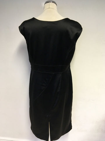 COAST BLACK MATT SATIN PENCIL DRESS SIZE 18
