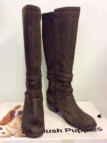 BRAND NEW HUSH PUPPIES BROWN WAX LEATHER KNEE LENGTH BOOTS SIZE 6/39
