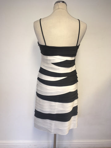 PHASE EIGHT BLACK & WHITE PLEATED SPECIAL OCCASION DRESS SIZE 12
