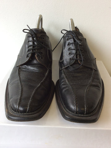 TODD WELSH BLACK ITALIAN LEATHER LACE UP SHOES SIZE 10.5 / 45