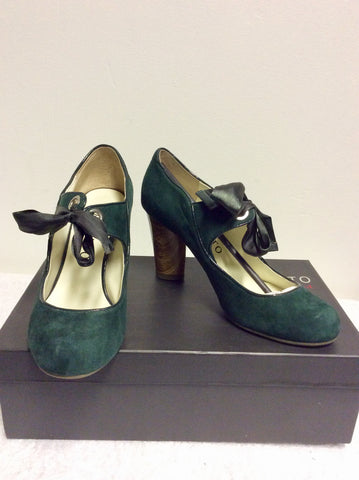 BRAND NEW STACCATO GREEN SUEDE MARY JANE HEELS SIZE 4/37