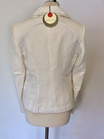 BRAND NEW MARIE MERO IVORY LINEN & COTTON BLEND JACKET SIZE 10