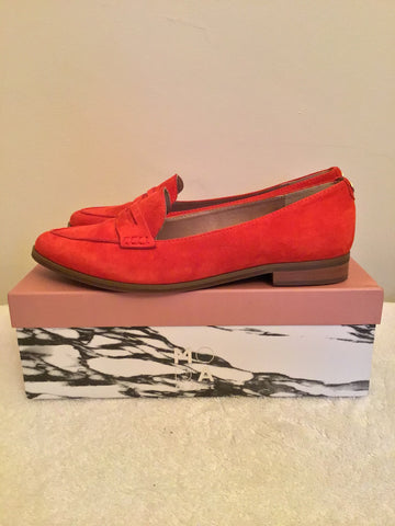 BRAND NEW MODA IN PELLE EMICO RED SUEDE PENNY LOAFERS SIZE 7/40
