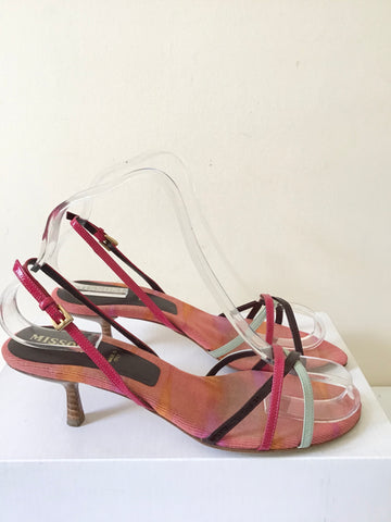 MISSONI MULTI COLOURED  LEATHER STRAPPY KITTEN HEEL SANDALS SIZE 4/37