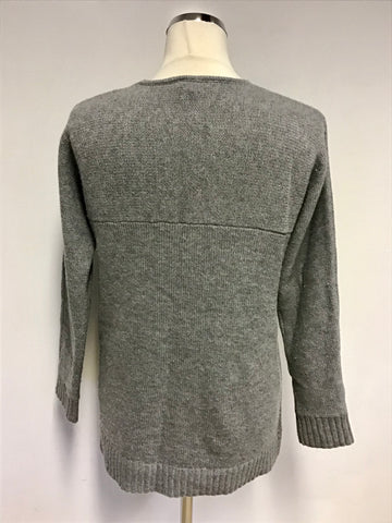 JAEGER LIGHT GREY V NECKLINE WOOL & CASHMERE JUMPER SIZE S