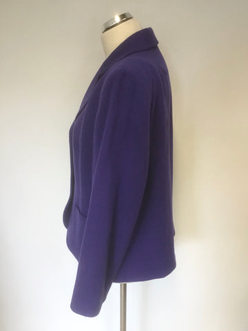 COTSWOLD COLLECTION PURPLE WOOL & CASHMERE BLEND JACKET SIZE 16