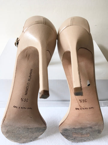 MANOLO BLAHNIK NUDE LEATHER STRAPPY HEEL SANDALS SIZE 3.5/36.5