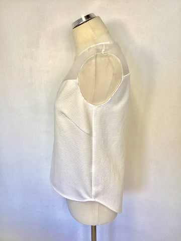 BRAND NEW PER UNA SPEZIALE WHITE SHEER UPPER SLEEVELESS TOP SIZE 10