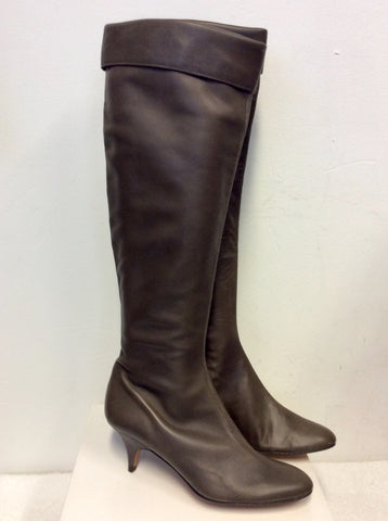 BRAND NEW PIED A TERRE SOFT BROWN LEATHER KNEE LENGTH BOOTS SIZE 5.5/38.5