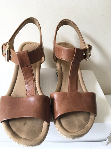 GABOR TAN (PEANUT) LEATHER WEDGE HEEL SANDALS SIZE 6.5 / 39.5 FIT G