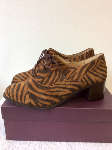 BRAND NEW DUO BROWN TIGER PRINT SUEDE LACE UP HEELS SIZE 8/42